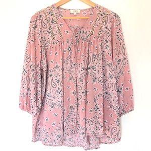 UMGEE USA Pink Paisley Bandana Boho Peasant Shirt